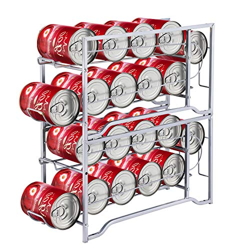 Simple Trending 2-Pack Soda Can Beverage Dispenser Rack, Stackable Can Storage Organizer for pantry or Refrigerator- Dispenser 12 Standard Size 12oz Soda Cans or Canned food, Silver