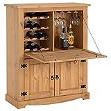 IDIMEX Meuble Bar à vin Tequila Armoire comptoir avec Range Bouteilles vin spiritueux et Range Verres, bahut de Style Mexicain en pin Massif Finition teintée/cirée