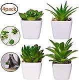 ANGEELEE 4 Stück Kunstpflanze Kunstpflanzen im Topf Künstliche Sukkulenten Tischdeko Haus Balkon Büro Deko-A1