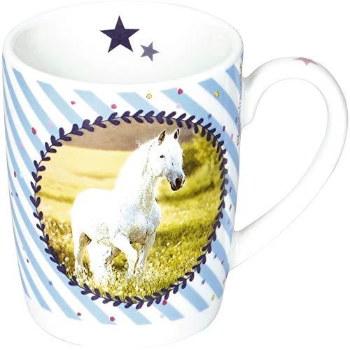 DIE SPIEGELBURG 14551 Porzellan-Tasse 'Pferdemedaille' Pferdefreunde