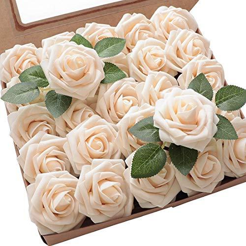 Ancokig Künstliche 25 Stück Rosen Blumen Schaumrosen Foamrosen Kunstblumen Rosenköpfe Gefälschte Kunstrose Rose für Hochzeit Blumensträuße Braut Zuhause Dekoration (Champagner,25 Stück)