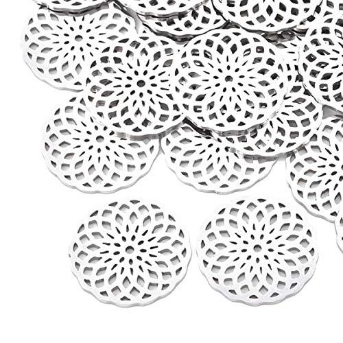 Sadingo Ciondolo a forma di fiore della vita (20 mm, 10 pezzi argento) per bracciali, fai da te, in acciaio inox