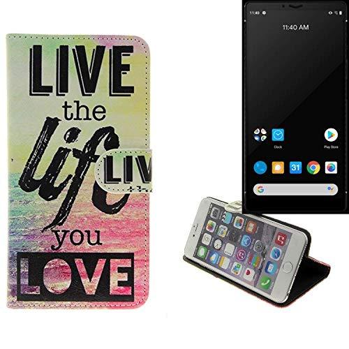 K-S-Trade® Schutzhülle Für Carbon 1 MKII Schutz Hülle 360° Wallet Hülle 'live Life Love' Schutzhülle Handy Tasche Handyhülle Etui Smartphone Flip Cover Standfunktion (1x)