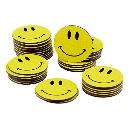 40 Smileys Magnete/Ø 2cm / z.B. als Kühlschrankmagnete, für Belohnungstafel, für Schulungen, den Unterricht.