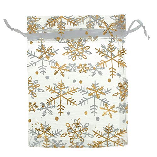 100Pcs/Pack Snowflake Jewelry Packing Drawable Christmas Organza Bag Wedding Gift Bags Pouches Package (4x6' (10x15cm))