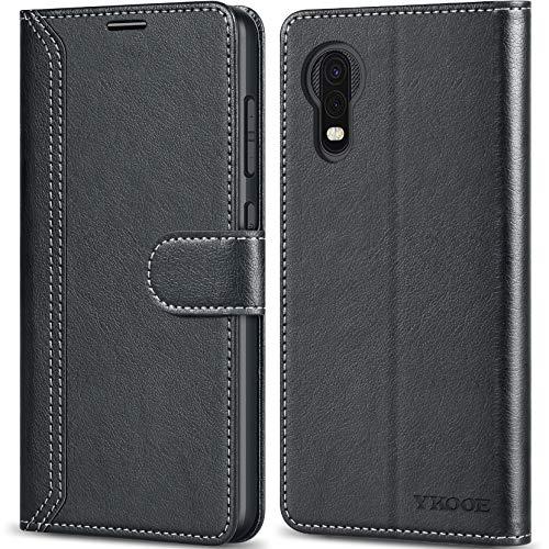 ykooe Handyhülle für Samsung Galaxy Xcover 5 Hülle, Hochwertige PU Leder Handy Schutz Hülle für Samsung Galaxy Xcover 5 Flip Tasche, Schwarz