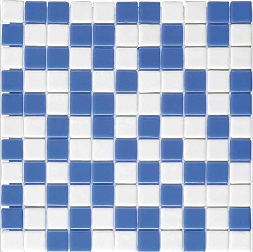 e-ceramica 8436028840403 Mosaico Cristal Azul, Blanco