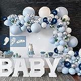 APERIL Arche Ballon Decoration Bleu Blanc, 92pcs Ballons Guirlande Anniversaire Kit Confettis Ballons Métallique Aargenté Ballon pour Mariage, Baptême, Baby Shower Mariage Décorations de Fête