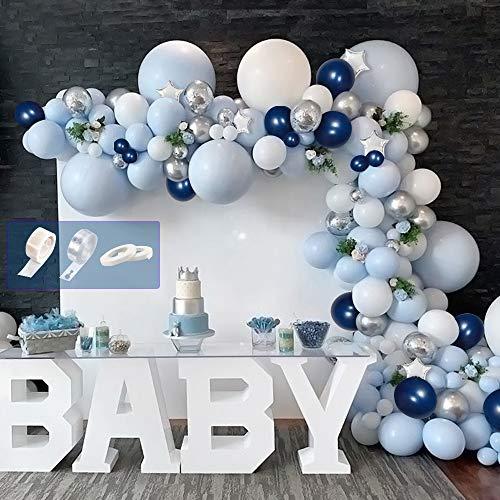 APERIL Globos Azules y Blancos, Globos de Confeti Globos Metalizados Plateados Globos de Aluminio Kit de Guirnalda de Arco para Decoracion Fiestas de Cumpleaños Niño Bautizos Bodas Baby Shower