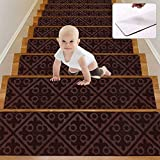 Wotoban Carpet Stair Treads Non Slip Indoor Set of 15 Self Adhesive 8' X 30' Stair Treads Carpet Stair Rugs Mats Runners Safety Slip Resistant for Kids, Elders and Dogs, Brown