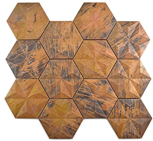 Mosaik Fliese kupfer Hexagon 3D braun für WAND THEKENVERKLEIDUNG Mosaikmatte Mosaikplatte