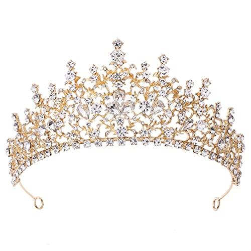 SeniorMar-UK Prinzessin Kopfschmuck Braut Krone Geburtstag Diadem Hochzeit Haarschmuck Braut Tiara Vintage Style Headwear KC KC Gold und weiße Diamanten 19 x 7CM