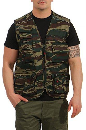 Mivaro Herren Safari-Weste mit vielen praktischen Taschen, funktionale Arbeitsweste, Outdoor-Weste, Größe:XXL, Farbe:Camouflage