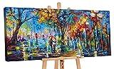 YS-Art Premium | Acryl Gemälde Herbstliche Allee | Handgemalte Leinwand Bilder | Wandbild Acrylgemälde | Kunst | Leinwand | Unikat | Mehrfarbig | PS059 (100 x 50 cm)