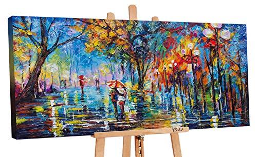 YS-Art Premium | Acryl Gemälde Herbstliche Allee | Handgemalte Leinwand Bilder | Wandbild Acrylgemälde | Kunst | Leinwand | Unikat | Mehrfarbig | PS059 (120 x 60 cm)