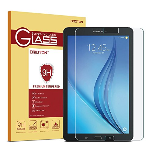 OMOTON Samsung Galaxy Tab E 9.6 Inch Glass Screen Protector, Tempered-Glass Protector with [9H Hardness] [Crystal Clear] [Scratch-Resistant] [Easy Installation], For Wi-Fi Version