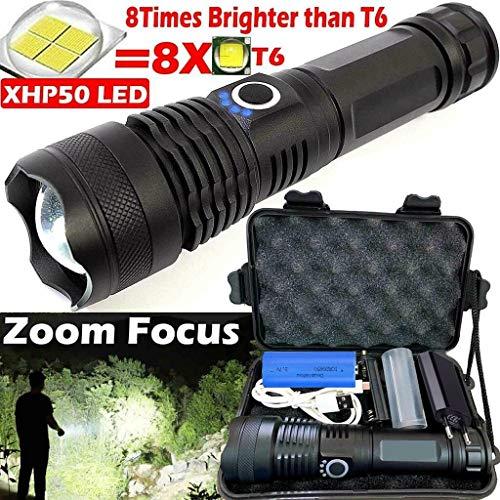 Riou XHP50 LED Taschenlampe Extrem Hell 900000 Lumen Zoom USB Aufladbar Wasserdichte Flashlight für Outdoor, Wandern, Camping(mit 18650 Batterien) (Schwarz)