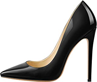 Women's Sexy Pointed Toe Stiletto Pumps,Slip On Patent Leather High Heels,Wedding Dress Formal Shoes