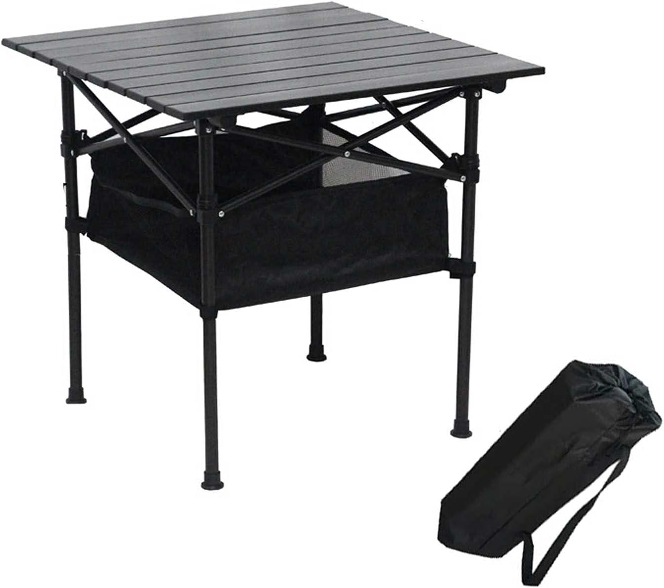 Compacto para Exteriores Mesa Camping,Mesa Plegable Jardin con Función De Almacenamiento,Tablero De Aluminio, Utilizado para Acampar En La Playa