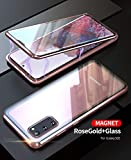 Galaxy S20 5G Double Sided Tempered Glass Magnetic Case 360° Full Body [Magnetic Adsorption] Aluminium Alloy Metal Bumper Protection Clear Cover for galaxy s20 6.2 inch 2020 (RoseGold, Galaxy S20)