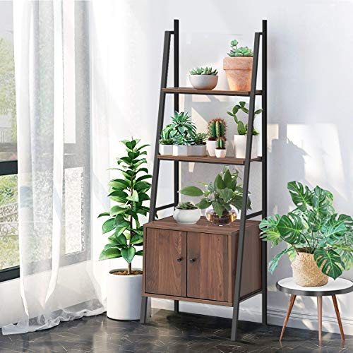 Tangkula 3 Shelf Ladder Bookshelf, Freestanding 3-Tier Wooden Bookcase with Doors, Multifunction Display Shelf, Plant Stand, Decor Furniture for Home Office (1, Walnut)