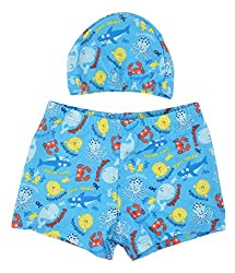 Yellow Bee Boys Fish Printed Swim Shorts with Cap Blue