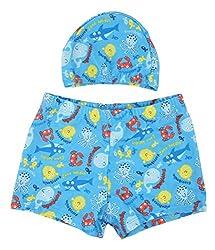 Yellow Bee Boys Fish Printed Swim Shorts with Cap Blue
