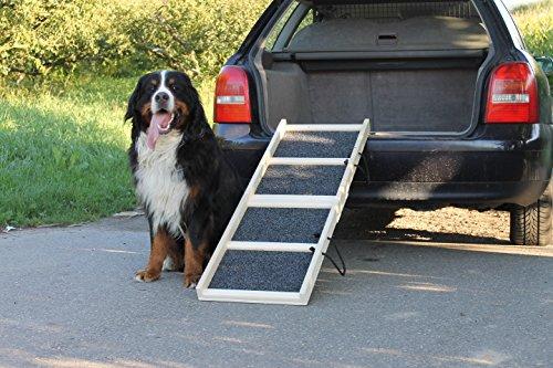 "Easy-Hopper Hunderampe / Hundetreppe / Einstiegshilfe \""Komfort Natur\"" mit Rasenbelag"