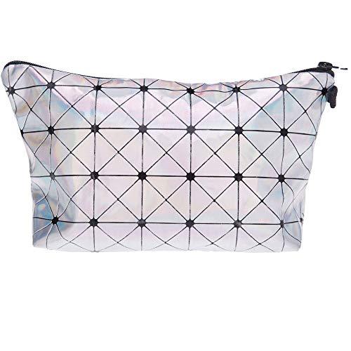 PREMYO Kosmetiktasche Klein für Handtasche - Schminktasche Damen Make Up Tasche - Federmappe Mädchen Etui Silber Glänzend