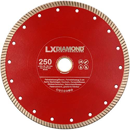 LXDIAMOND Diamant-Trennscheibe 250mm x 30,0mm für 2-3 cm Feinsteinzeug Terrassenplatten Feinsteinzeugfliesen Natursteinfliesen usw. passend für Schneidetische 250 mm