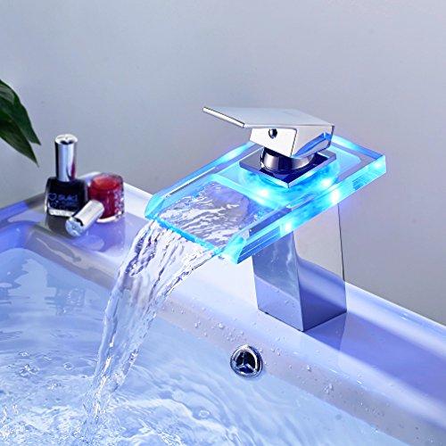 Auralum® Armatur LED RGB Glass Wasserhahn Waschtischarmatur für Bad/Badezimmer/Küchen - 4