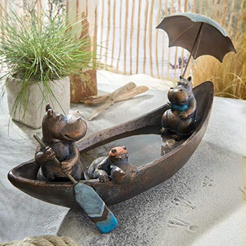 Vogeltränke Hippo Family - Gartendeko - Polyresin - Kupfer - Breite ca. 45 cm