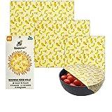 Beekinn Beeswax Food wrap - 3 pack, organic wraps - natural & eco friendly,100% organic cotton, alternative to plastic, Reusable food Wraps, perfect Food Storage - Set of 3 Sizes - S, M, L (banana)