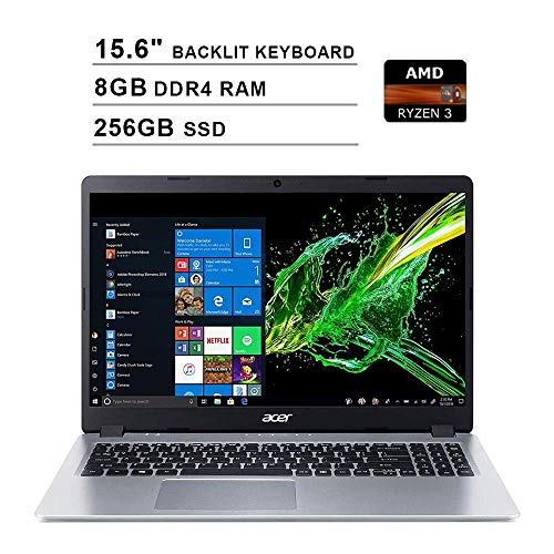 2020 Acer Aspire 5 15.6 Inch FHD 1080P Laptop (AMD Ryzen 3 3200U up to 3.5 GHz, 8GB DDR4 RAM, 256GB SSD, AMD Radeon Vega 3, Backlit Keyboard, WiFi, Bluetooth, HDMI, Windows 10 Home S) (Renewed)