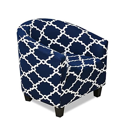 VanderHOME Sofa Überwürfe,Jacquard Elastisch Sesselüberwürfe, Sesselschoner mit modern Muster Couch Überwurf für Cafe Stuhl Sessel Loungesessel, Cocktailsessel,Rattanmuster-Marineblau