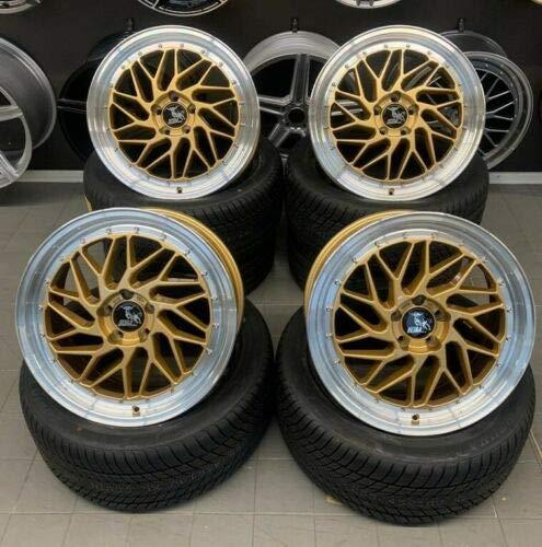 4 x 19 Zoll Ultra Wheels UA14 Alu Felgen 8,5x19 5x112 ET45 gold Rand poliert für Karoq 4x4 NU Octavia 2 1Z 3 5E Scout 2 1Z 3 5E Superb 2 3T 3 3T Yeti 5L RS Le Mans NEU