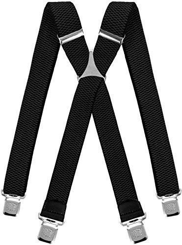 Decalen Hosenträger für Herren breit extra starken 4 cm mit 4er Clips X-Form lange für Männer und Damen Hose alle Farben (Schwarz)