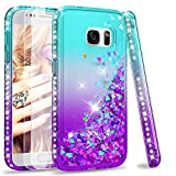 LeYi Compatible with Galaxy S7 Glitter Case with 2PCS Tempered Glass Screen Protector for Girls Women, Bling Sparkle Diamond Phone Case for Samsung Galaxy S7, Gradient Teal/Purple