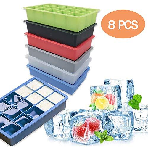 POWER BANKS Home Food Grade Silikon Eiswürfelschale, 3,5 cm große quadratische Eiswürfelformen für Whisky Cocktails Kühlung, zufällige Farbe (15 Gitter),8 PCS