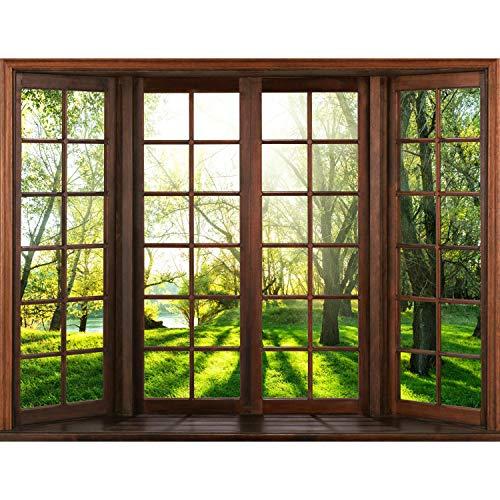 Runa Art Fototapete Fenster Landschaft Modern Vlies Wohnzimmer Schlafzimmer Flur - made in Germany - Grün Braun 9383010a