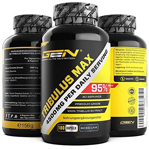 Tribulus Max - 180 Kapseln - Hochdosiert mit 4500 mg pro Tagesdosis - Premium: 95% Saponine - Reines Tribulus Terrestris Extrakt 10:1 - Vegan - Laborgeprüft