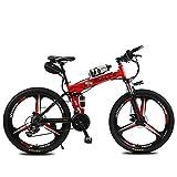 Las Bicicletas Eléctricas Plegable Bicicleta De Montaña, De 26 Pulgadas 36V / 8Ah Adulto E-Bici Con Extraíble De Iones De Litio, 3 Ciclismo Montar Modos De 2 Modos De Batería,Rojo,kettle battery