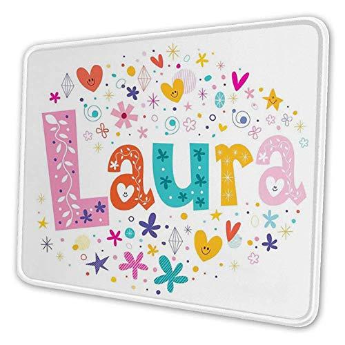Mousemat Rectangular Mousepad, Nombre de la niña con Estilo Vintage Doodle Flores y Estrellas Colorida ilustración