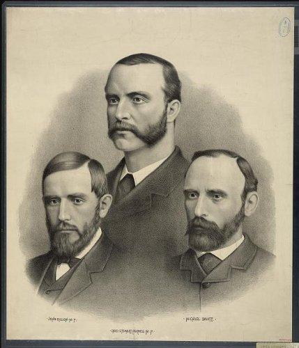 Foto: dirigentes de Irlanda, John Dillon, Charles Stewart Parnell, Michael Davitt, irlandés Hombres