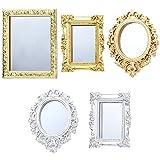 Skylety 5 Espejos en Miniaturas para Casa de Muñecas Espejo con Marco Europeo Espejo de Pared Barroco Victoriano Mini Accesorio de Muebles de Dormitorio para Casa de Muñecas 1/12, Oro y Plata