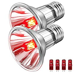 BOEESPAT 75W Infrared Reptile Heat Bulb Lamp?2 Pack? Reptile Light Bulb for Lizard Bearded Dragon Tortoise Turtle Chameleon Reptiles & Amphibians with 4 Extra Lamp Beads