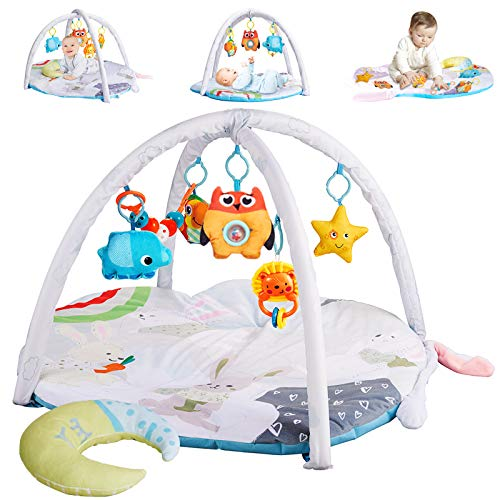 wokopon Baby Play Mat Rabbit-Shape, Perfect Baby Play Gym with 6 Removable Hanging Toys- 1 Plush Moon Pillow for Tummy Time Mat, Baby Activity Mat Toys for 0-3-6 -12 Months Boys and Girls