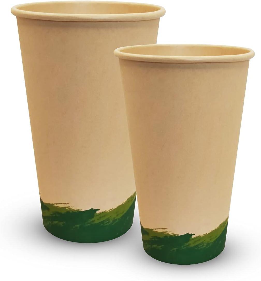 Vasos de Carton Desechables Vasos Carton para Café (50 ud) Vasos desechables Biodegradables Vaso Carton desechable Biodegradable Vasos Biodegradables (500 cc)
