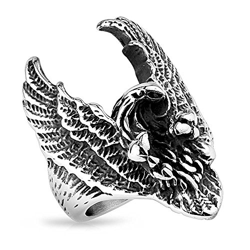 Mianova Herren Ring Edelstahl Massiv Breit Herrenring Männer Biker Rocker Schmuck fliegender Adler Größe 60 (19.1)