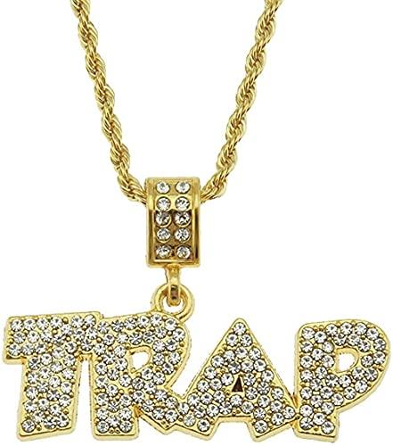 Collar Accesorios Trampa Personalidad Carta Colgante Hombres S Europeo Hip-Hop Trend Collar Golden Yellow-0 375Cm Twist Chain